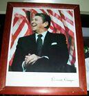 Stock framed photograph print President Ronald Reagan w/ autopen signature