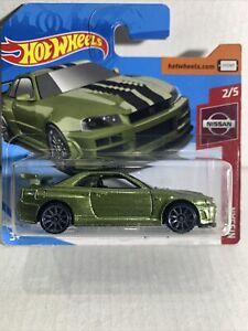 Hot Wheels Nissan Skyline GT-R BNR34 Die-cast Car, Dark Green RARE SHORT CARD