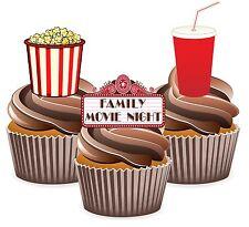 Pellicola FILM DI FAMIGLIA NOTTE Popcorn DRINK - 12 DECORAZIONI per Cup Cake Commestibili Decorazioni