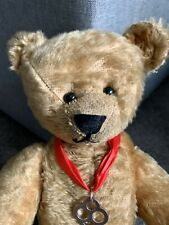 Antique Mohair Teddy Bear Jtd 14� Steiff ? Excelsior Stuffed Paw Pads Bit Worn