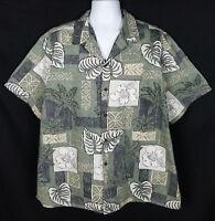 RJC Hawaiian Shirt Men's Sz XXL Short Sleeve Button Front Floral Cotton Reverse