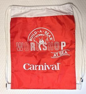 """Build-A-Bear Workshop At Sea Carnival Red White Cinch Bag 17.5""""x 13"""" Draw Tote"""