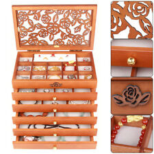 Handcrafted Wooden Jewelry Box Organizer Wood Armoire Cabinet Storage Chest