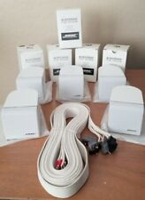 (5) White Bose Acoustimass Single Cube Speakers and Cords