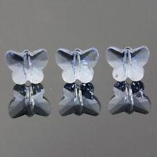 6pcs Swaro/vski  5x6x10mm Butterfly Crystal beads B Light-blue