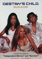 Destiny'S Child 2001 Survivor Swedish Original Promo Poster