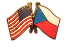 Czech Republic Friendship with USA Flag Lapel Badge Pin