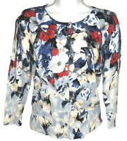 White House Black Market Cardigan 3/4 Sleeve Floral Snap Up Sweater Blue Size XS