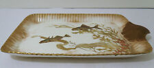 1800s SIGNED DOULTON BURSLEM ENGLAND HP TRAY W/ SHELL HANDLE - FISH DECORATION