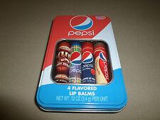 4 Pepsi Flavored Lip Balms~Mug Root Beer, Diet Pepsi, Cherry Vanilla, Cherry~NEW
