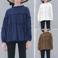 ZANZEA Femme Chemise Col à volants Couture Manche Longue élastiques Shirt Plus