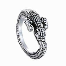 Fashion Men Women Crocodile Animal Ring Adjustable Silver Alligator Finger Wrap