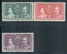 NEWFOUNDLAND 230-32 SG254-56 MH 1937 KGVI Coronation Issue set of 3 Cat$7