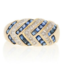 1.31ctw Square Cut Sapphire & Diamond Ring - 14k Yellow Gold Woven Design