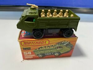 VINTAGE MATCHBOX LESNEY #54 ARMY PERSONNEL CARRIER GREEN NICE NEVER PLAY WITH