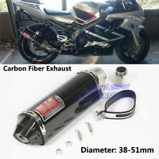 38-51mm Motorcycle Real Carbon Fiber Tail Tube Exhaust Muffler Pipe Silencer