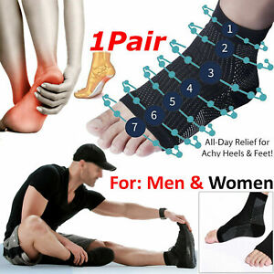 1 Pair Anti Fatigue Compression Foot Sleeve Support Brace Sock Plantar Faciitis