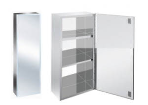Luxury Stainless Steel Bevelled Edge Reversible 600 Tall Bathroom Mirror Cabinet