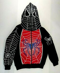 Spiderman Full Face Zip Up Hoodie Youth L Size 12 Kids - NEW