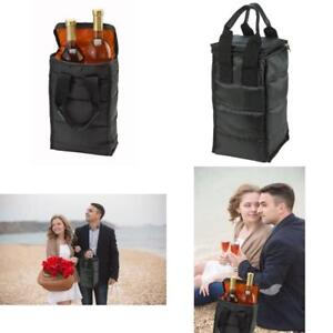 Wine Carrier Tote Bag - 2 Bottle Pockets - Attractive Wine Bag With Thick Extern