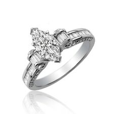 GIA Certified Marquise Cut Diamond Engagement Ring 2.20 Carat 18k White Gold