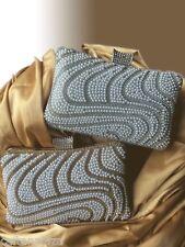Luxus Clutch Silber Abendtasche Brauttasche Strass Perlen Edel NEU bling Elegant