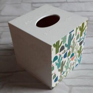 Cactus Flowers Tissue Square Box Cover Holder wooden handmade decoupaged