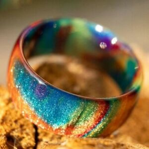 Multicolor Cloud Opal Ring Colorful Chunky Rings Bands Girl Women Jewelry Size11