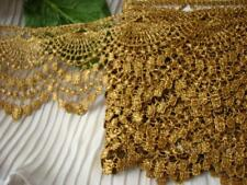"""4yds~ BIG 3"""" Gold Lampshade~ Venise Lace Tablecolth Trim #436 chic victorian"""