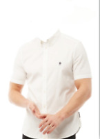 french connection mens white short sleeve casual shirt oxford shirt size M *16