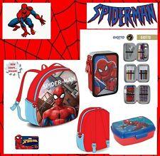 Spiderman Rucksack + Brotdose + Federmäppchen Disney Kinder 3 stöckig GEFÜLLT