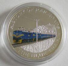 Liberia 5 Dollars 2011 Eisenbahn Blue Train Silber