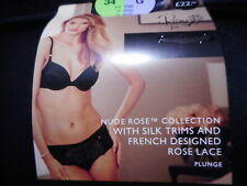 36D  MARKS & SPENCERS ROSIE BLACK PADDED PLUNGE  UNDERWIRED BRA WITH SILK  NEW