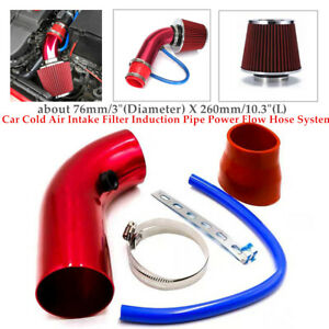 76mm Car Cold Air Intake Filter Induction Aluminum Pipe Power Flow Hose System