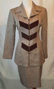 Mascara Zip Front Jacket 2pc Skirt Suit Size 6 Canada Brown Tan