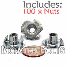 "1/4-20 x 5/16"" OAL - Qty 100 - 3 Prong Tee Nut Straight Barrel Zinc Plated T-Nut"