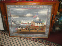 Huntington Painting On Canvas Folk Art Early Americana Colony On Water Colonial