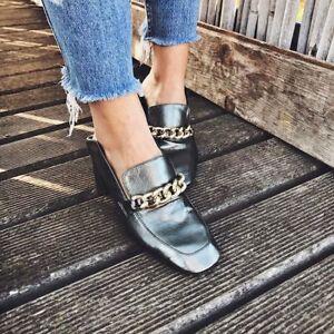 Zara High Heel Leather Chain Loafers Size Uk6/Eu39 BNWT