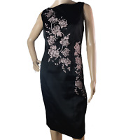 Coast Ladies Pencil Dress Size 10 Black Embroidered Floral Detail Occasion
