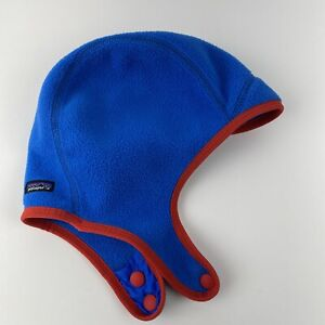Patagonia Baby Ski Cap Hat Small 6-18M Blue Synchilla Fleece Red Snap Chin Strap