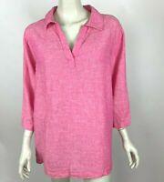 Tahari 100% Linen Tunic Top Popover Shirt 3/4 Sleeve Boho Pink Women 1X NWT