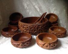 VINTAGE Carved WOOD SALAD BOWL SET WOODEN SPOON FORK 11 piece TIKI