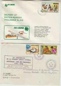 1975/76 AIR LIBERIA delivery flight cover & NEW CALEDONIA 50th anniversary FFC