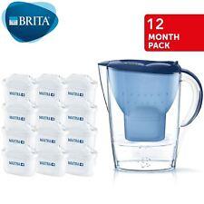 BRITA MARELLA MAXTRA + 2.4 L filtre carafe à eau + 12 mois Cartouches Pack Bleu