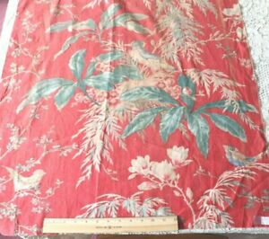 """Antique French Hand Blocked 19thC Cotton/Linen Home Tropical Bird Fabric~54""""X28"""""""