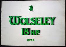 WOLSELEY 18 HP SIX CYLINDER MODEL SALES BROCHURE OCT 1934 #1005