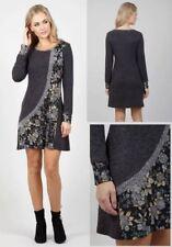 STELLA MORGAN BOHO ABSTRACT PATCHWORK FLORAL LONG SLEEVE TUNIC DRESS