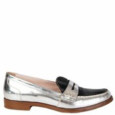 57955 auth MIU MIU silver & black leather Penny Loafers Flats Shoes 37.5