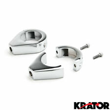 Chrome Fork Turn Signal Clamps for Harley Sportster Dyna Glide 39mm Relocation