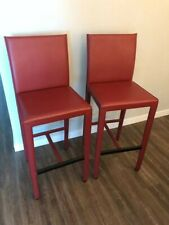New listing Crate and Barrel Folio Viola Red Leather Bar Stools - Two (2) Discontinued Rare